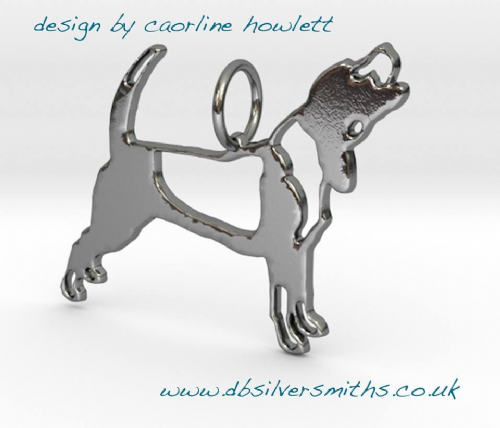 Baying Beagle dog pendant sterling silver handmade by saw piercing Caroline Howlett Design